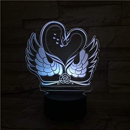Lámpara de mesa 3D Regalo de juguete para niños LED Dos cisnes junto a la cama Cambio de color Decoración Luz de noche Niño Niño Niños Bebé Cumpleaños USB Lámpara de mesa 3D Regalo de juguete para n
