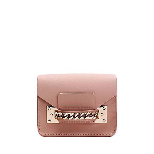 Viviesta Women's Genuine Leather Chain Detail Mini Crossbody Shoulder Envelope Bag Handbag - Nude Pink