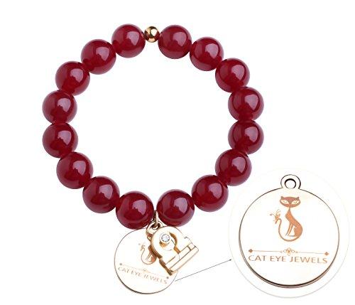 CAT EYE JEWELS Libra Constellation Zodiac Sign Charms Bracelet Red Garnet Birthstone 12mm Beads Bracelet