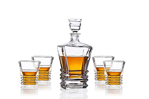 James Scott Premium Quality Elegant Decanter Set - Lead-Free Crystal Decanter with 4 Lovely Exquisite Glasses | Comes in an Exclusive Gift Box for Ultra Luxury