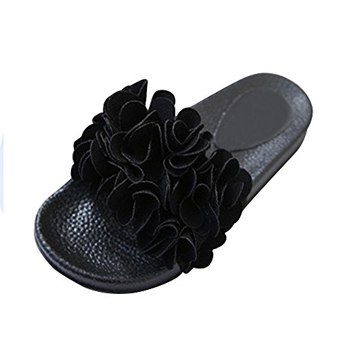 Plate Casual Aspect Soixante Noir Fleur Fantaisie Femmes Chaussure Sandales vnEqqWpwF
