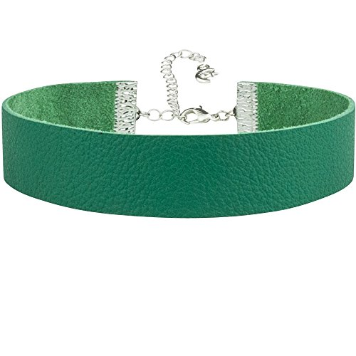 Twilight's Fancy Plain Leather Choker Necklace (Green, Large)