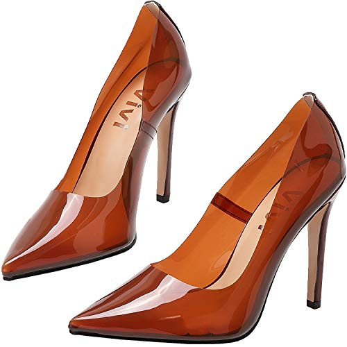 (vivianly Fashion High Heel Pointed Toe Clear Pumps Heels Slip on Dress Shoes for Women Brown)