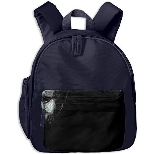 Halloween Scary Face Mask Black Children Backpack Pocket Zipper Outdoor Travel School Book Bag ()