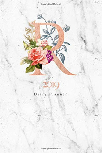 2019 Diary Planner: Abstract Rose Gold Vintage Flowers January to December 2019 Diary Planner With