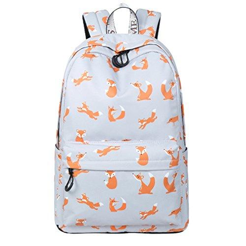 Imiflow Girls School Backpack Travel Rucksack Book Bags Casual Daypacks (Grey Fox) - Fox Side Zip Backpack