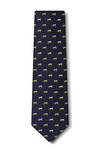 Men's 100% Silk Galloping Horses Equestrian Necktie Neck Tie Neckwear (Navy Blue)