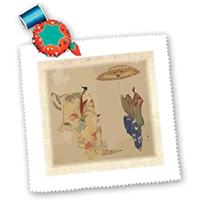 3dRose qs_109327_5 Asian Woodcut Art The Dancers From 1700S Quilt Square, 14 by 14-Inch