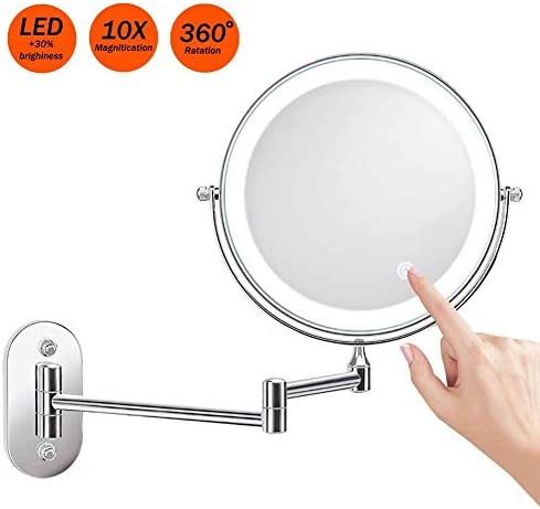AMAZACER バスルームの鏡の壁には、化粧鏡8インチ両面で10倍LEDタッチ調光360degをマウント。ホテルバニティバッテリー用の折りたたみの拡張スイベルが運営します
