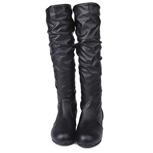 ホット販売、aimtoppyレディース冬フラットソリッドカラーMartin pointed highロングブーツカジュアル靴 US:8.5 ベージュ AIMTOPPY