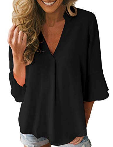 Black Chiffon Sleeve Top - Dean Fast Women Casual Chiffon Flare Sleeve V Neck Plus Size Blouses Shirts Loose Flowy Tops Black M