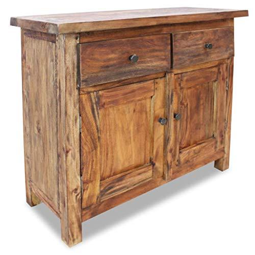 vidaXL Solid Wood Sideboard w/ 2 Doors 2 Drawers Side Cabinet Storage Cupboard