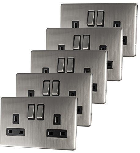 5 x Double Wall Socket Switched Gloss Brushed Chrome 2 Gang Screwless 13a Double Pole by Mega ()