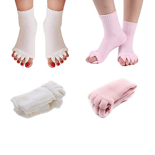 2 Pair Toe Separators Spreader Spacer Socks for Yoga, Gym, Sports, Toe Straighteners Correctors Helps with Foot Alignment, Bunions, Hammer Toes, Hallux Valgus, Blisters, Sore Feet Pain (Pink White)