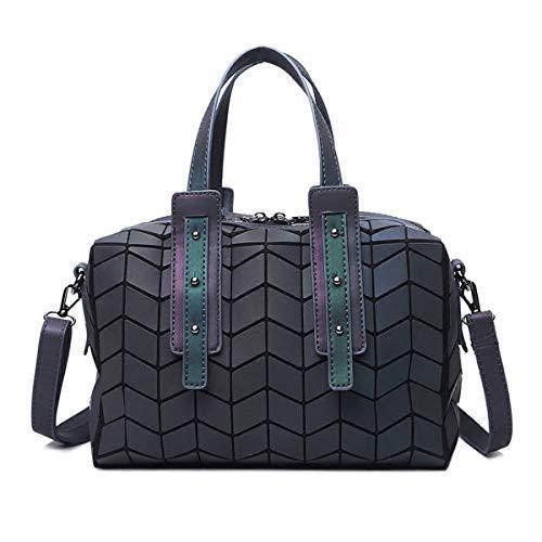 (Women Geometric Holographic Purses Luminous Handbags Large Tote Top-Handle Bags with Zipper Closure Satchel Boston Shoulder Bags)