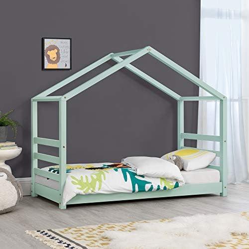 Cama para niños de Pino 140 x 70 cm Cama Infantil Forma de casa en Color Verde Menta Lacado Mate: Amazon.es: Hogar