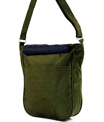 Guru-Shop Schultertasche mit Nieten Bali, Herren/Damen, Grün, Kunstfaser, Size:One Size, 27x23 cm, Alternative Umhängetasche, Handtasche aus Stoff