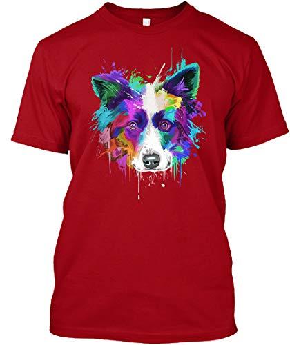 Border Collie Splash Art Tshirt 2XL - Deep red Tshirt - Hanes Tagless Tee