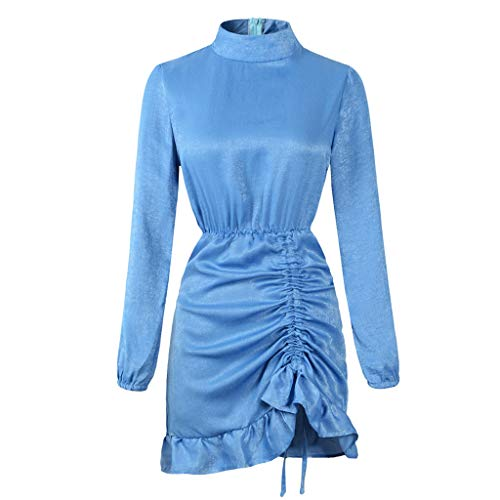 Lelili Women Stand Collar Ruffled Dress Sexy Hip-Wrapped Ruched Skirt Casual Evening Party Mini Dress Blue