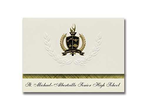 Signature Announcements St. Michael-Albertville Senior High School (St. Michael, MN) Graduation Announcements, Presidential Basic Pack 25 with Gold & Black Metallic Foil - Albertville Mn