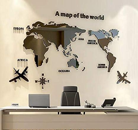 Marbeine DIY 3D acrílico mapa del mundo adhesivo de pared para decoración de pared, color negro, large: Amazon.es: Bricolaje y herramientas