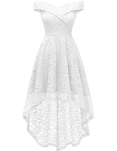 Homrain Women's Off Shoulder Hi-Lo Floral Lace Dress Vintage Elegant Cocktail Party Wedding Dresses White L