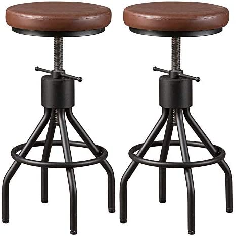BOKKOLIK Set of 2-Vintage Bar Stool Swivel PU Leather Seat Kitchen Island Workbench Chair Height Adjustable 23-31 inch