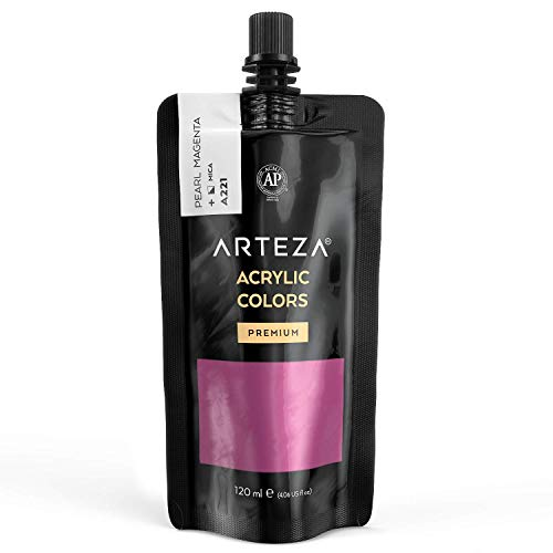 Arteza Metallic Acrylic Paint, Pearl Magenta A221, 120 ml Pouch, Highly Pigmented & Fade-Resistant, Non-Toxic, for Artists, Hobby Painters & Kids