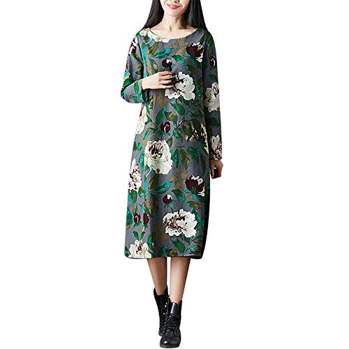 Morecome,2018 Fashion Women Plus Size Folk-Custom Style Loose Attractive Floral Printed Cotton and Linen Dress
