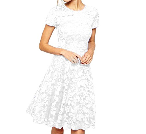 Eliffete Sexy Short Off White Lace Homecoming Party Dress Midi Quinceanera Gowns for $<!--$13.52-->