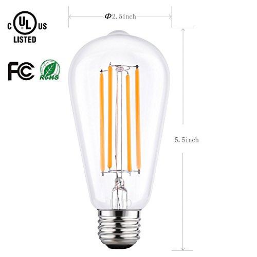 Led Filament Candelabra Bulb 3 6w 40w Equiv Ul Listed: LETO ST64 Vintage LED Edison Bulbs Filament Light Bulb