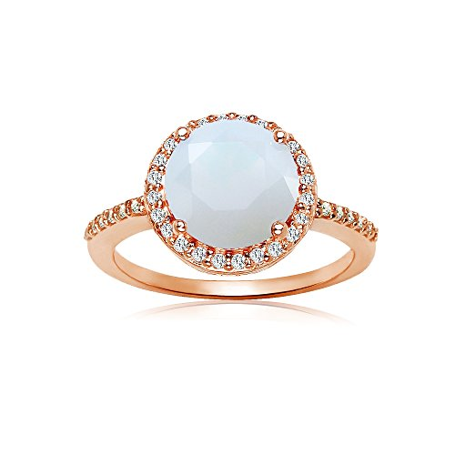 Rose Gold Flashed Sterling Silver Simulated White Opal and Cubic Zirconia Round Halo Ring, Size 5