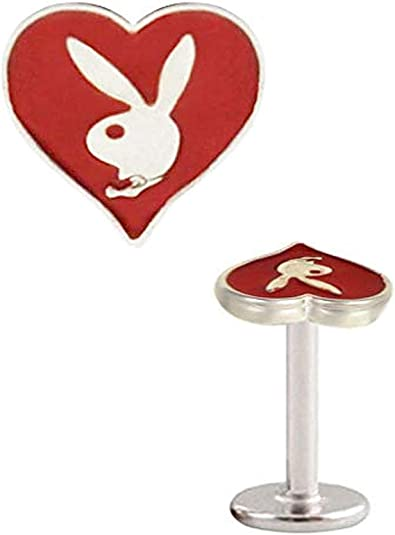 White Red Lips Playboy Bunny Logo Tongue Barbell
