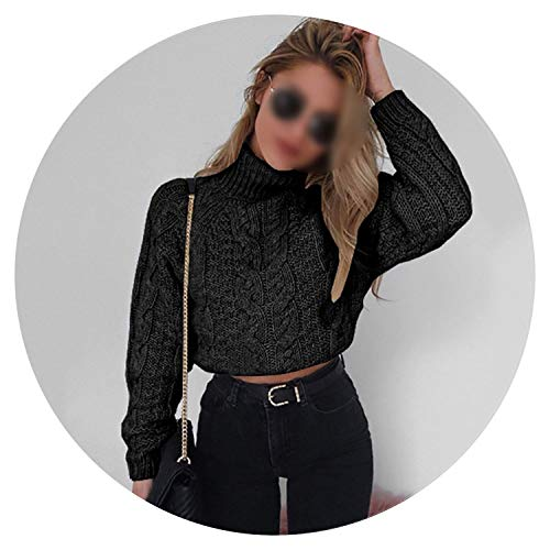 2018 Autumn Winter Turtleneck Crop Sweater Women Casual Solid Twist Short Pullover,Black,M ()