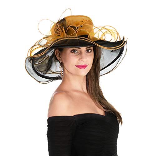 SAFERIN Women's Organza Church Kentucky Derby Fascinator Bridal Tea Party Wedding Hat (Black and Golden)