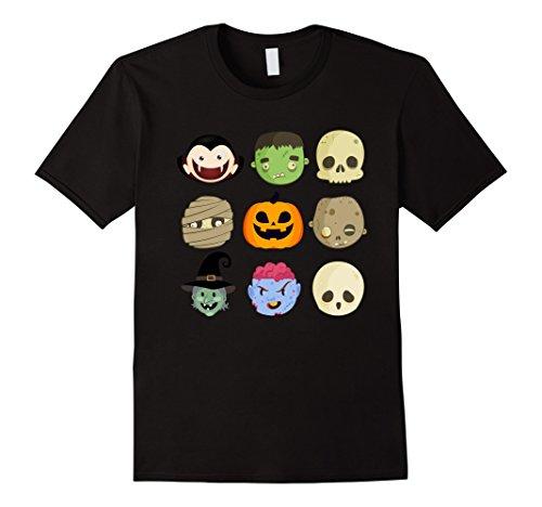 Mens Emojis T-Shirt Funny Halloween Scary Emoticons Top Tee XL (Emoticon Halloween)