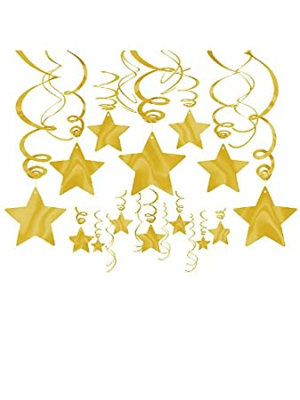 1 x gold foil star hanging decorations each by amscan - Gold Decorations