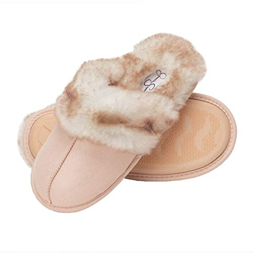 Jessica Simpson Comfy Faux Fur Womens House Slipper Scuff Memory Foam Slip On Anti-Skid Sole (Size Large, Pink) (Christmas The Gift)
