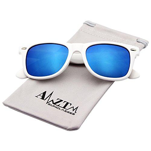 AMZTM Classic Square Retro Mirrored Lens Polarized Designer Wayfarer Sunglasses (White Frame Ice Blue Lens, - Mirrored Sunglasses White