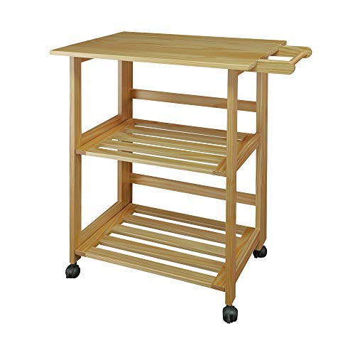 Casual Home 372-30 Trek Folding Natural Kitchen Cart - Folding Kitchen Carts