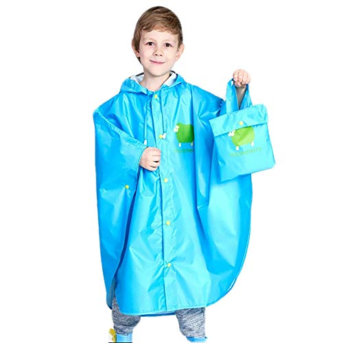 (Fan Hua Kids Raincoat Yellow Lightweight Waterproof Rain Jacket Coat with Hooded for Girls Boys,Portable Poncho Rainwear(Kid Raincoat01-Blue-XL))