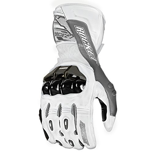 - Joe Rocket 1440-2704 Flexium TX Men's Leather Motorcycle Racing Gloves (White/Gun Metal, Large)