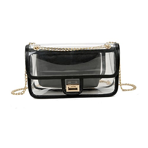 Use Transparent for Purse Women Clear Work Bags Chain Travel Black Beach Purse Handbag Daily Shoulder PVC Shopping with 5RxHaqxF