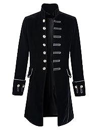 Everbeauty Men's Retro Stylish Velvet Goth Steampunk Long Overcoat