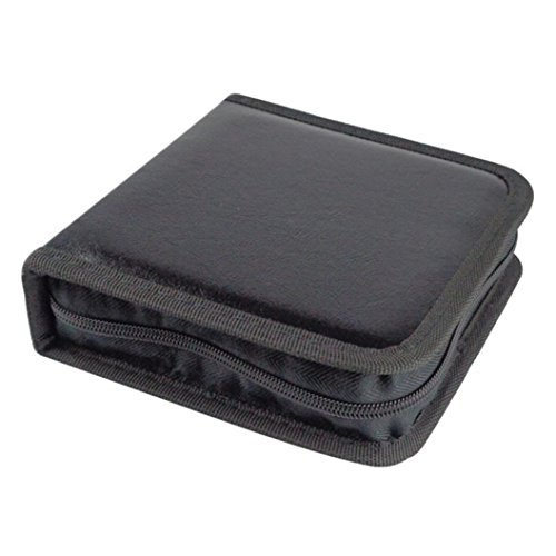 DZT1968 New 40 CD DVD 40 disc CD DVD Zipper Storage Cover Carry Case Holder 16X15.5X4.8cmBox Bag (Black)
