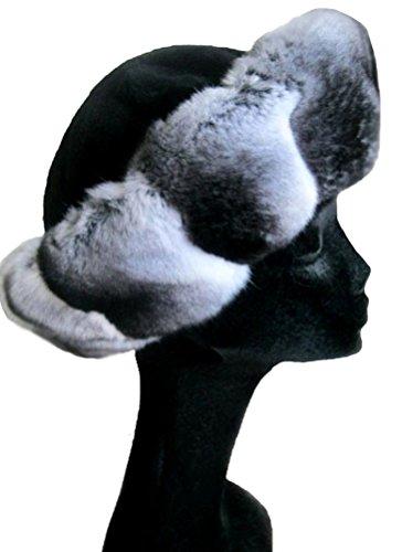 Women's Real Chinchilla & Black Sheared Mink Fur Hat by Moda Furs