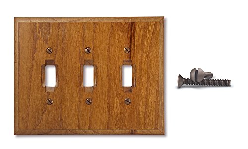 TarrantTech Wood Triple Toggle Electrical Switch Wall Plate Cover, 3-Toggle, Genuine ()