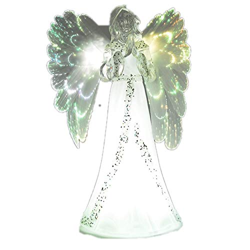 The Nifty Nook Lighted Angel Figurine Frosted - LED Color Changing Praying Angel Statue with Large Color Changing LED Wings ()