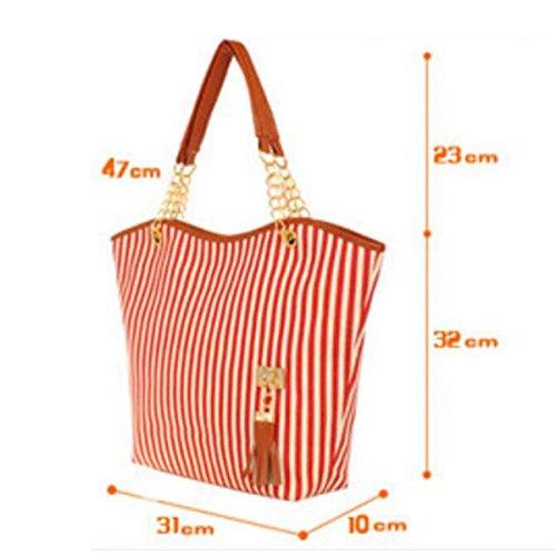 Women Shoulder Tassel Tassel Handbags Chain Large Shoulder Chain Canvas Canvas Striped Women Striped Red Large xfRYn