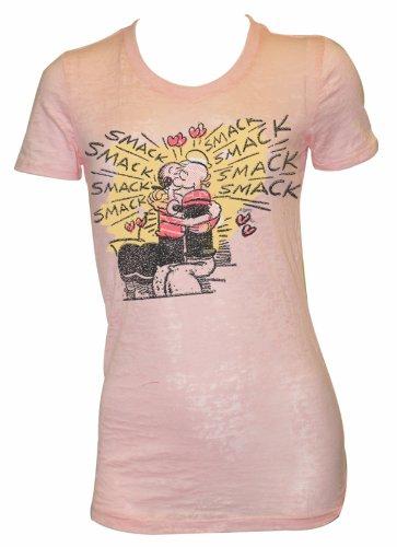 Popeye Juniors T shirt – Olive Oyl Smack Burnout Tee Shirt, Medium (Olive Oyl)